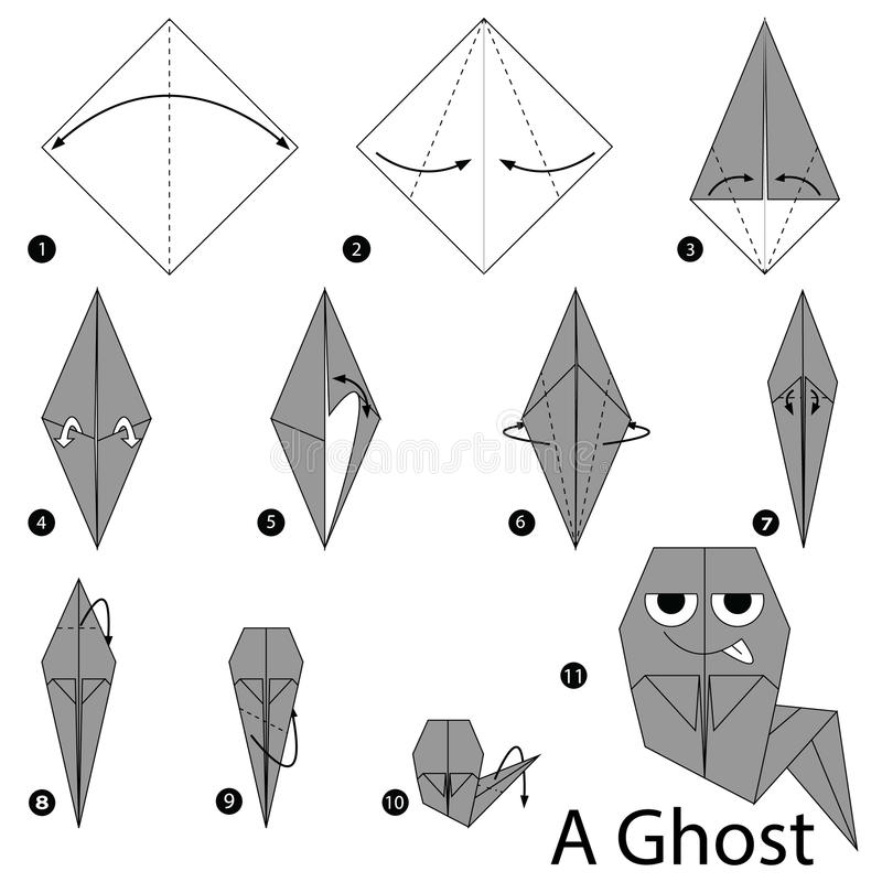 Download Step By Instructions How To Make Origami A Ghost Stock Vector