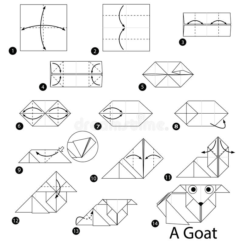 Step By Step Instructions How To Make Origami A Goat Stock Vector
