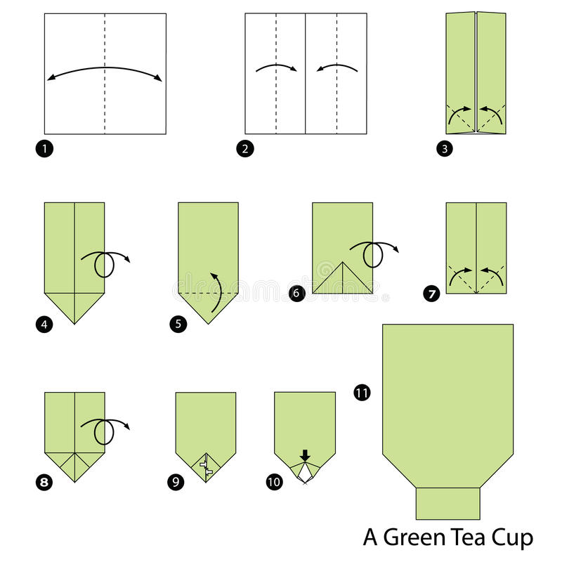 Download Step By Instructions How To Make Origami A Green Tea Cup Stock Vector