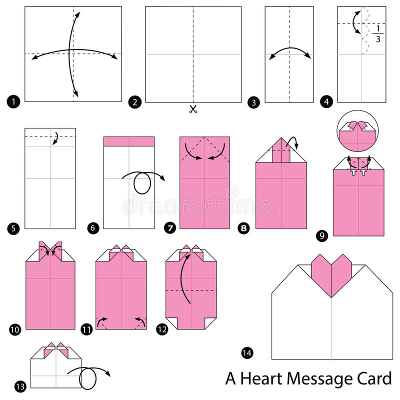 Download Step By Instructions How To Make Origami A Heart Message Card Stock Vector