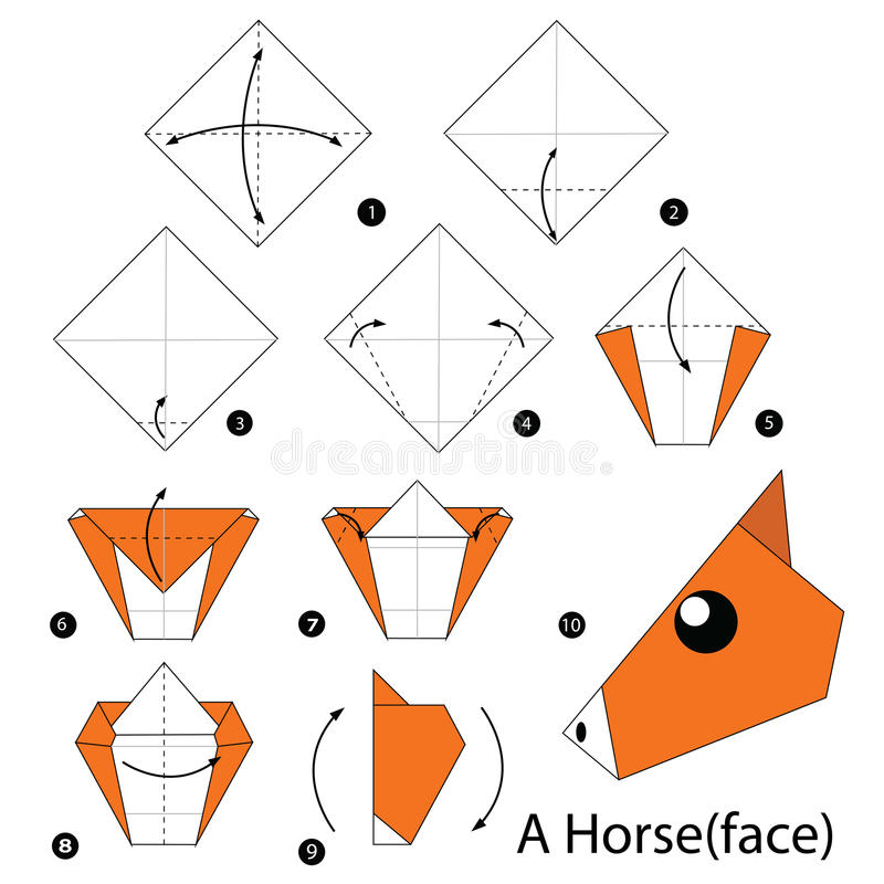 Step by step instructions how to make origami A Horse. Illustration step by step of horse origami vector illustration
