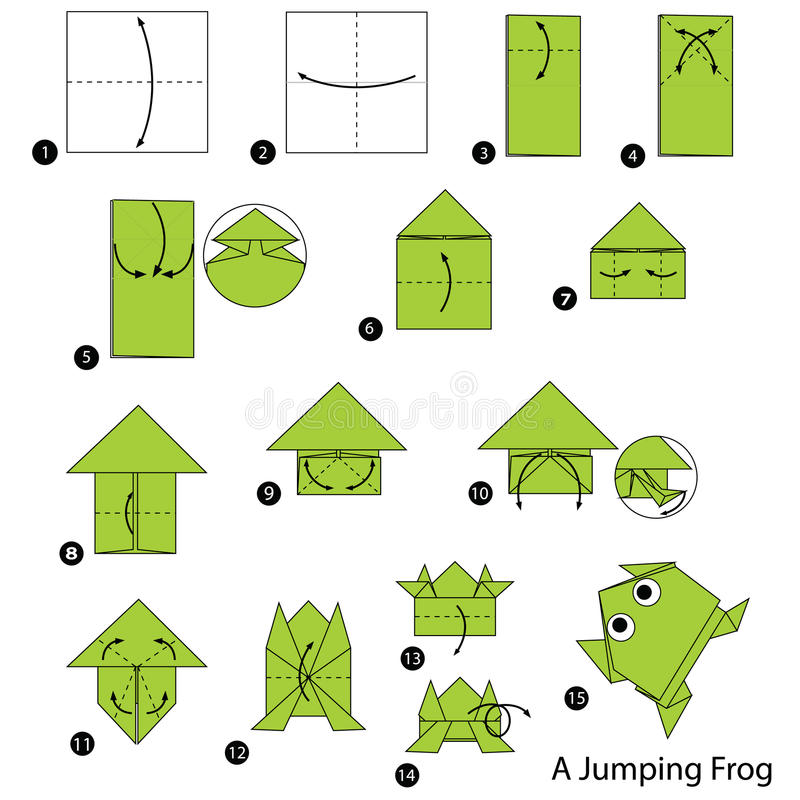 Step by step instructions how to make origami A Jumping Frog. Animal toy cartoon cute paper steps origami art stock illustration