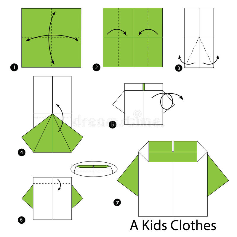 Download Step By Instructions How To Make Origami A Kids Clothes Stock Vector