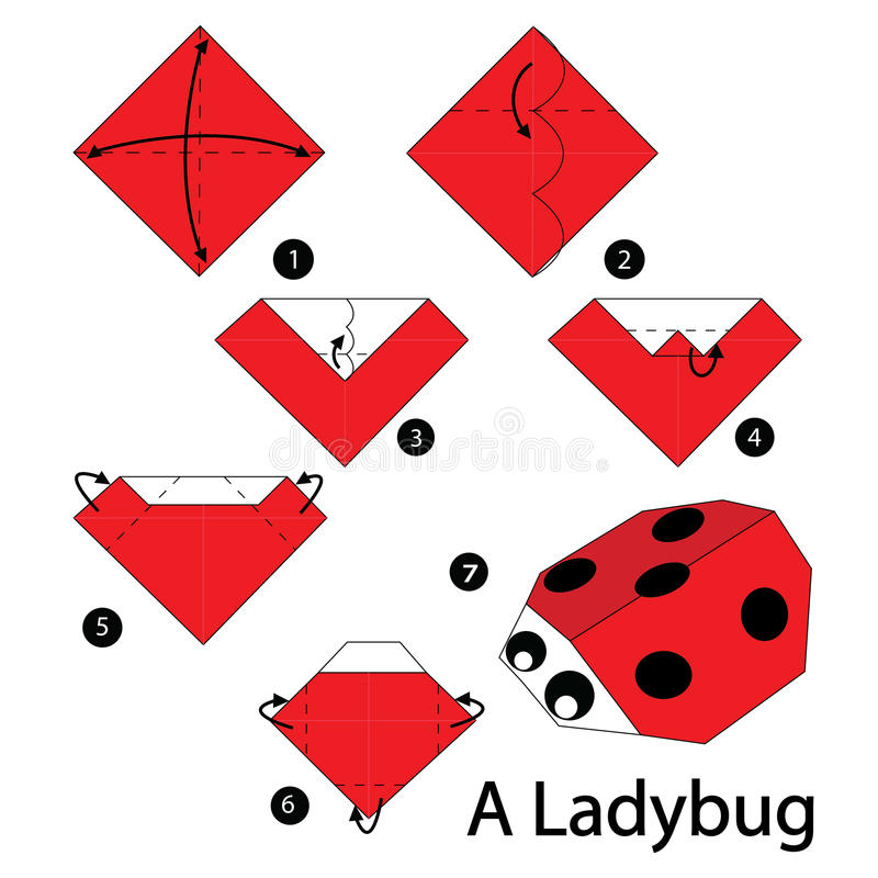 Step by step instructions how to make origami A ladybug. royalty free illustration