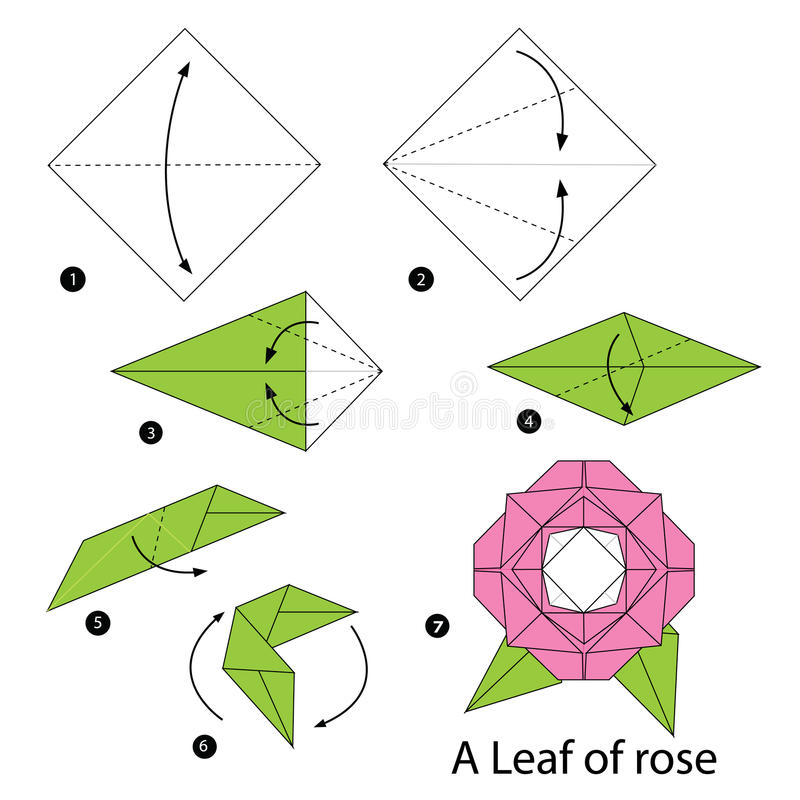 Download Step By Instructions How To Make Origami A Leaf Of Rose Stock Vector