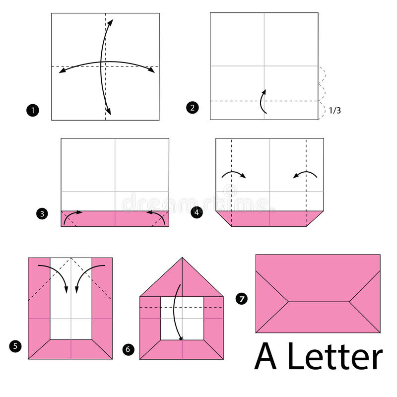 Download Step By Instructions How To Make Origami A Letter Stock Vector