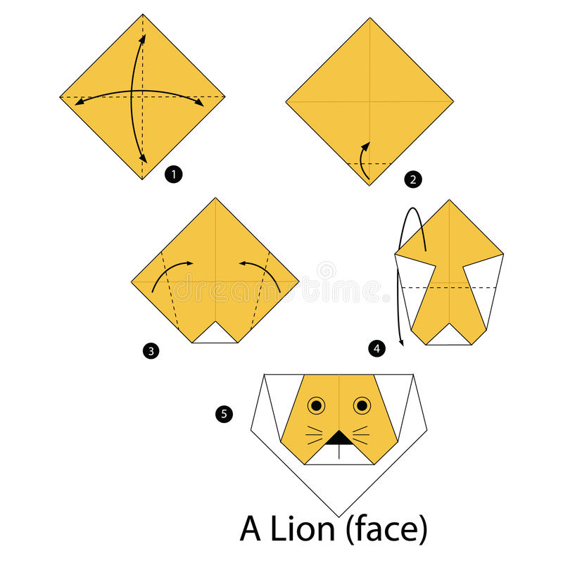 Step by step instructions how to make origami lion. Animal coffee cartoon cute logo vector illustration