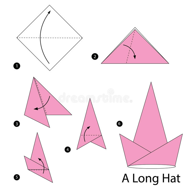 download step by step instructions how to make origami a long hat stock vector