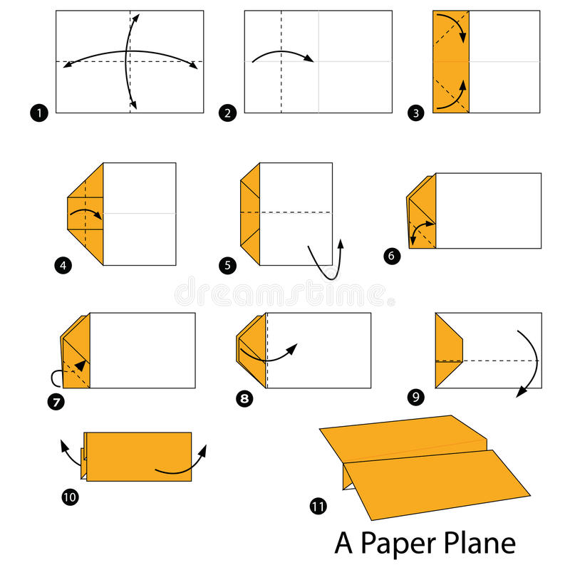 Download Step By Instructions How To Make Origami A Paper Plane Stock Vector