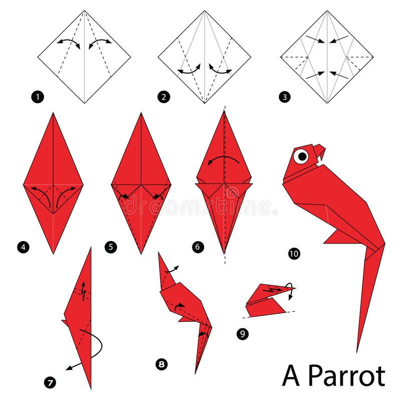 Step by step instructions how to make origami A Parrot. Animal toy cartoon cute paper steps origami art stock illustration