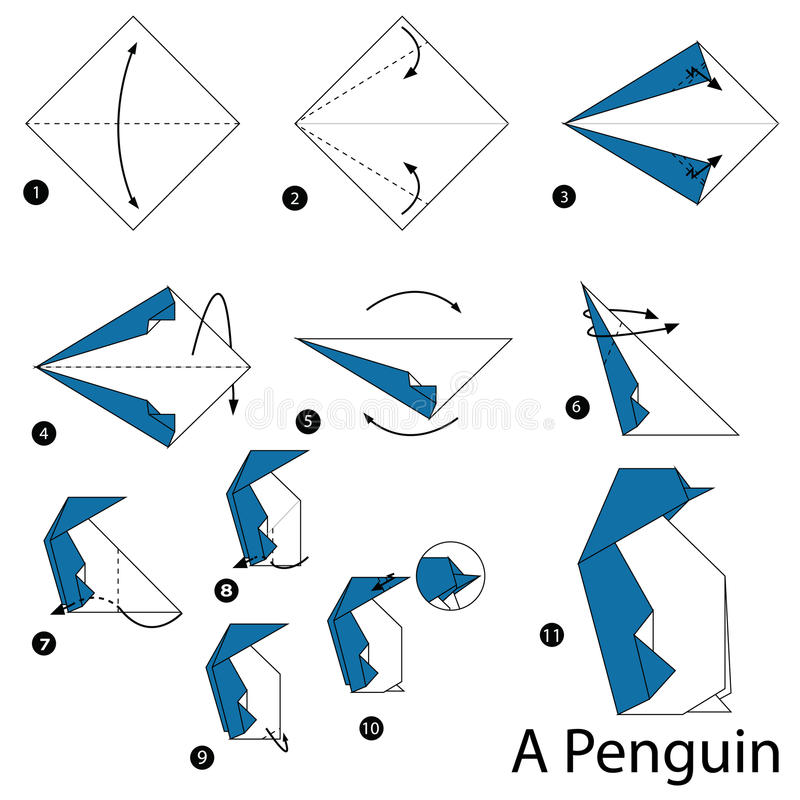 Step By Instructions How To Make Origami A Penguin Stock