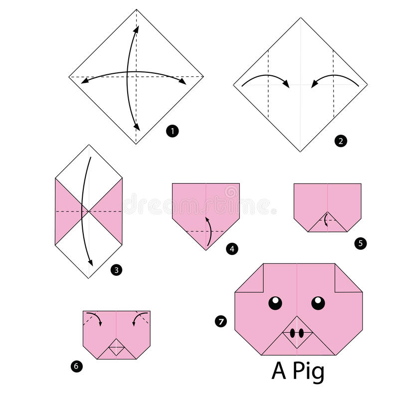 Step By Step Instructions How To Make Origami Pig. Stock ... - photo#13