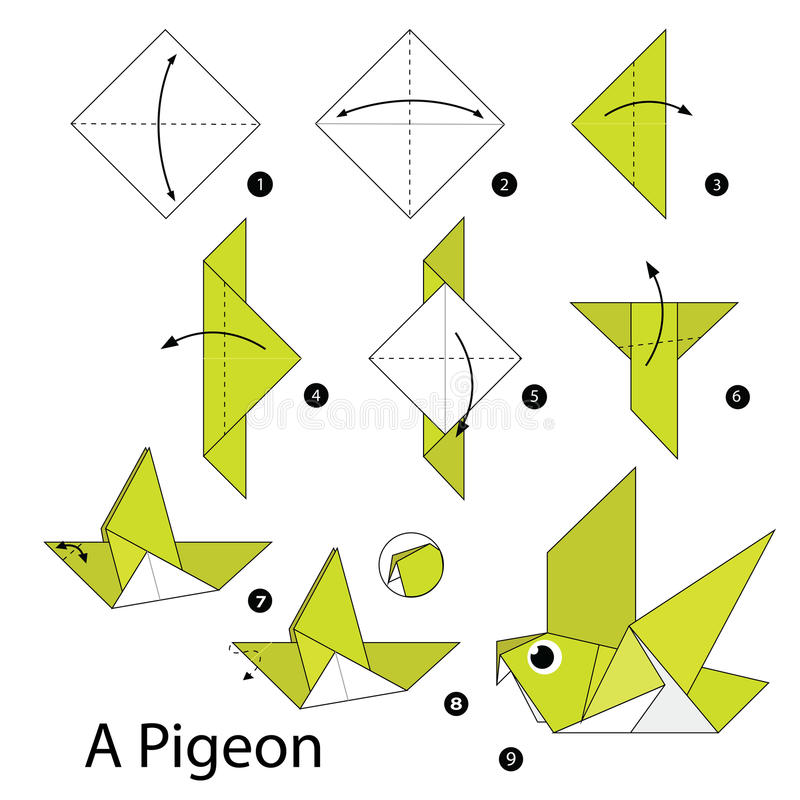 Step by step instructions how to make origami A Pigeon. Illustration step by step of NecktiePigeon origami royalty free illustration