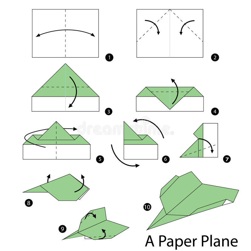 download step by step instructions how to make origami a plane stock vector image