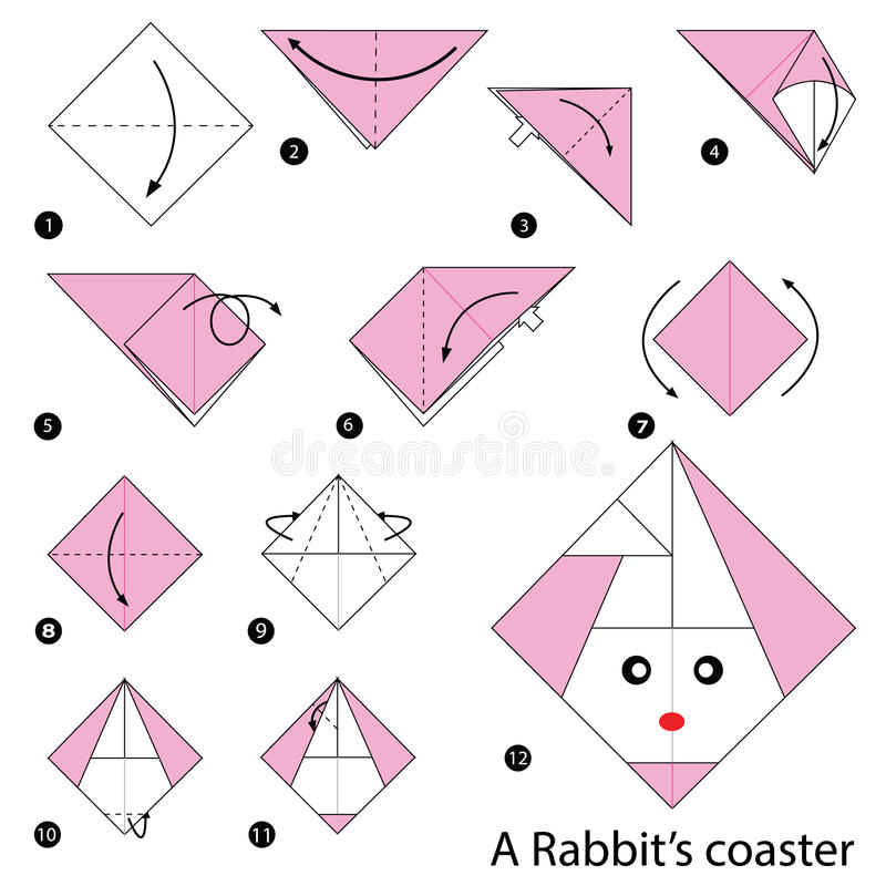 Download Step By Instructions How To Make Origami A Rabbits Coaster Stock