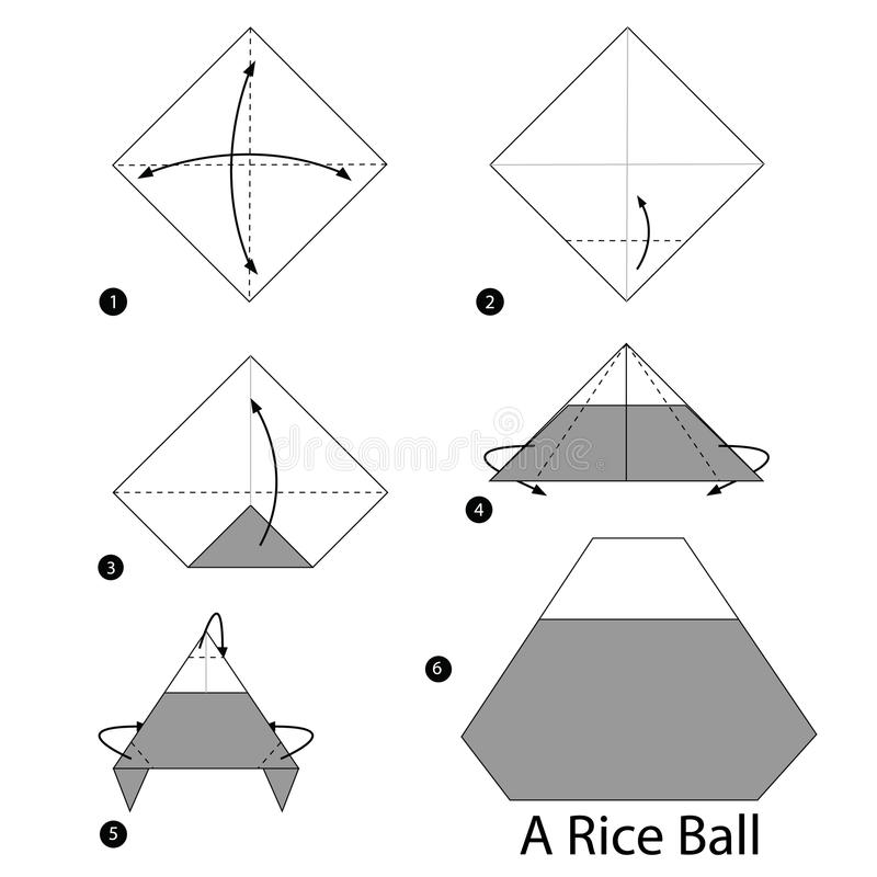 Download Step By Instructions How To Make Origami A Rice Ball Stock Vector