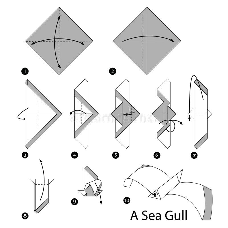 Step by step instructions how to make origami A Sea Gull. Toy cartoon cute paper steps origami animal stock illustration