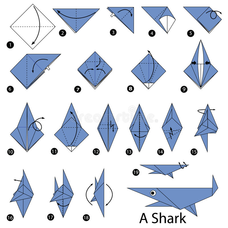 Step By Step Instructions How To Make Origami A Shark Stock Vector
