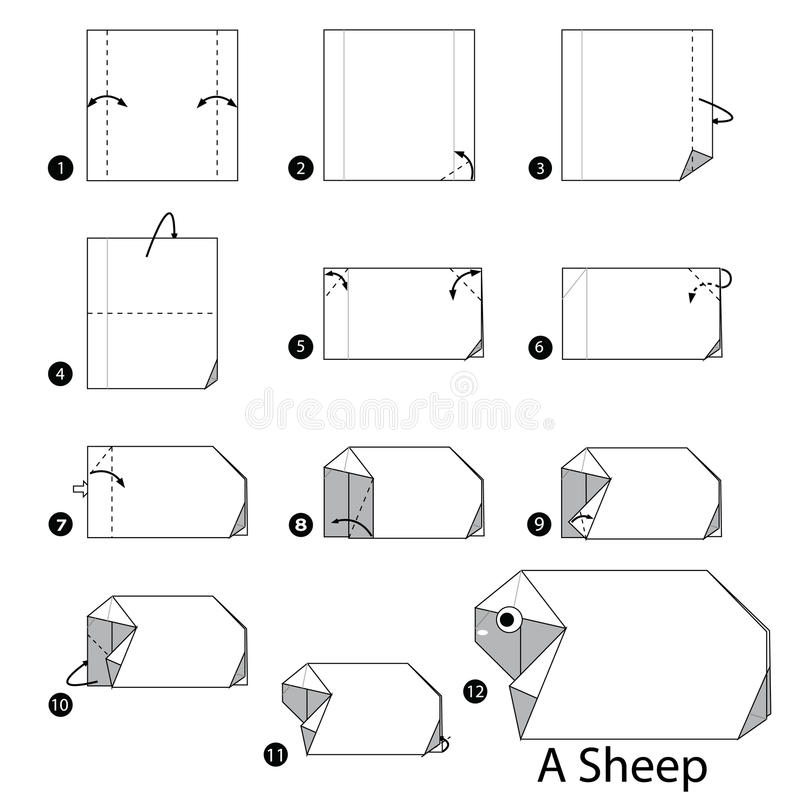 Step by step instructions how to make origami A Sheep. royalty free illustration