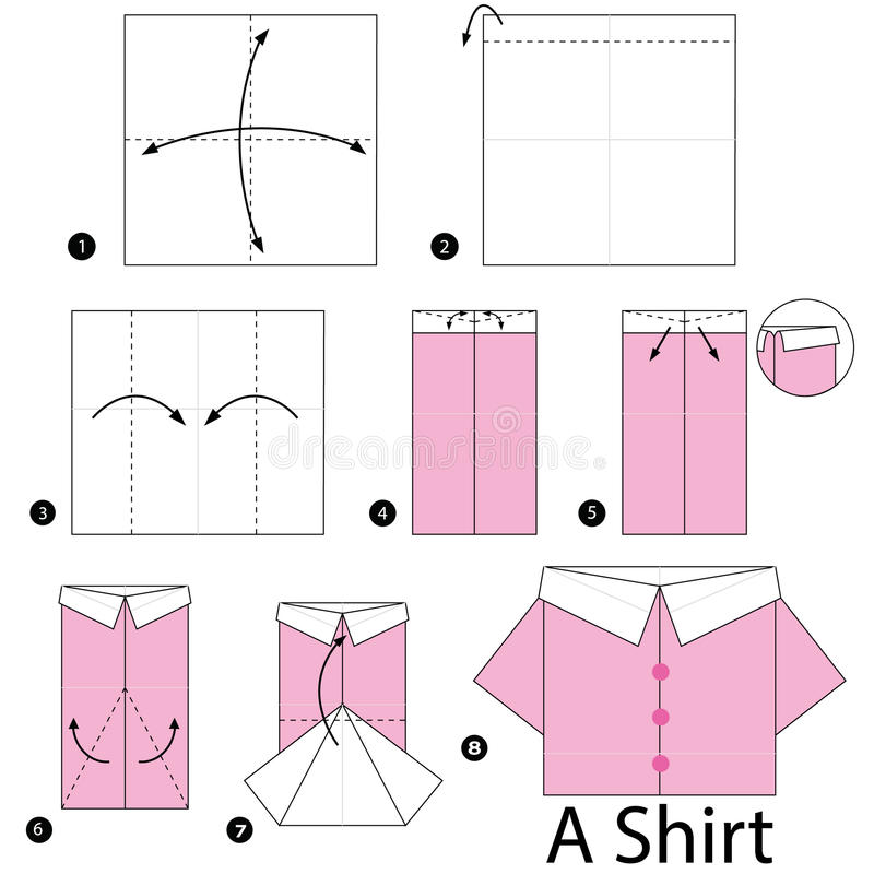 Step By Instructions How To Make Origami Shirt Stock Vector