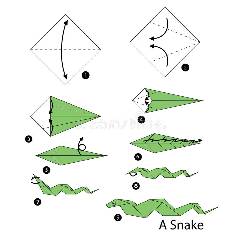 Step by step instructions how to make origami snake stock for How to make a paper design