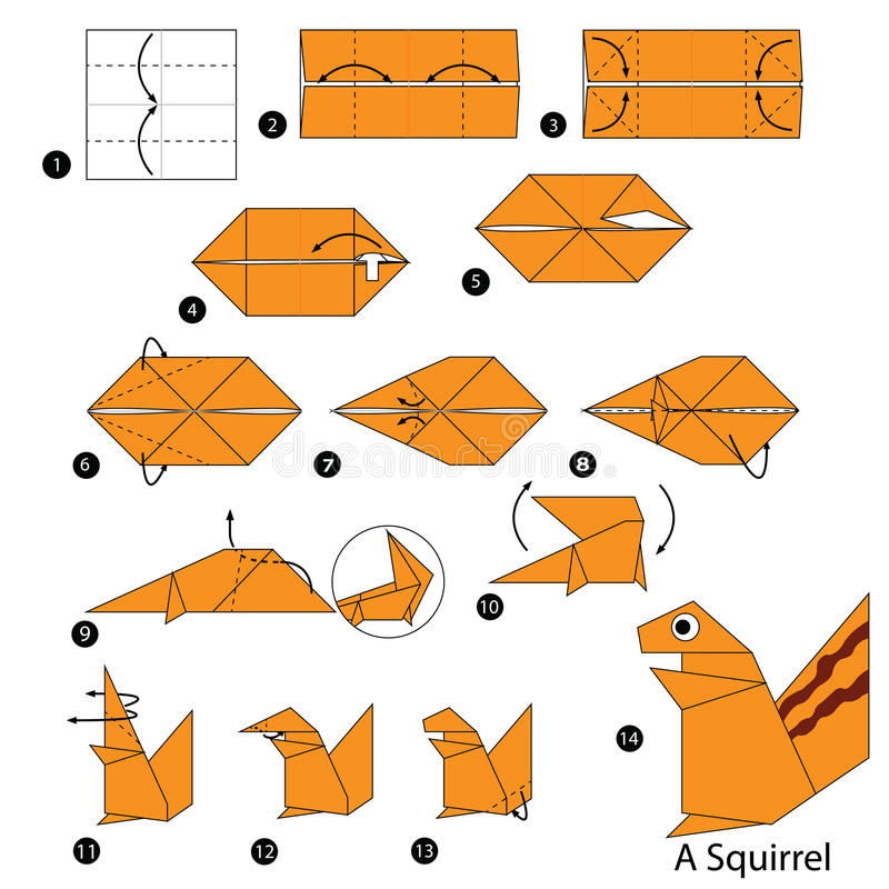 Download Step By Instructions How To Make Origami A Squirrel Stock Vector
