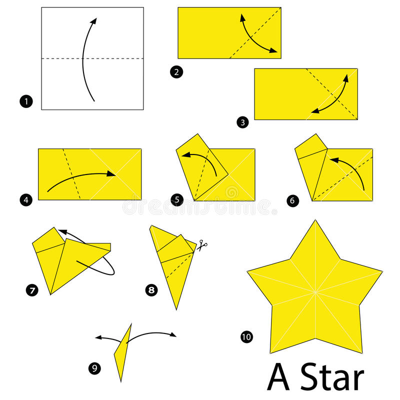 Download Step By Instructions How To Make Origami A Star Stock Vector