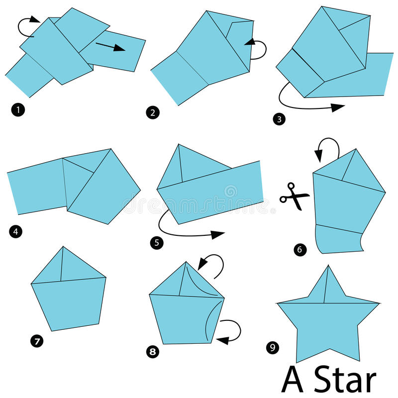 Step by step instructions how to make origami a star stock for How to make a star with paper step by step
