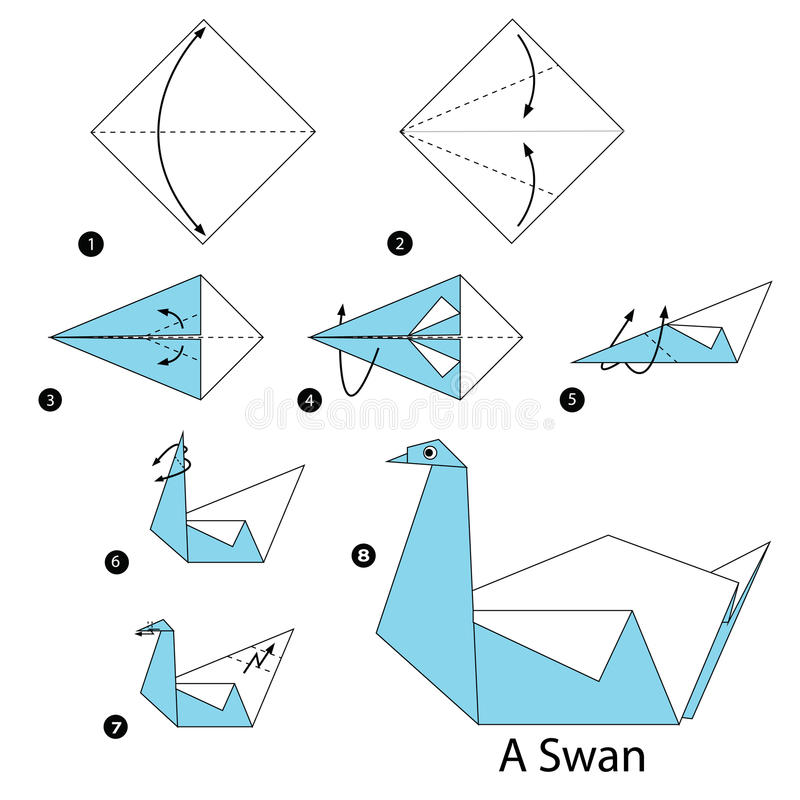 Download Step By Instructions How To Make Origami A Swan Stock Vector
