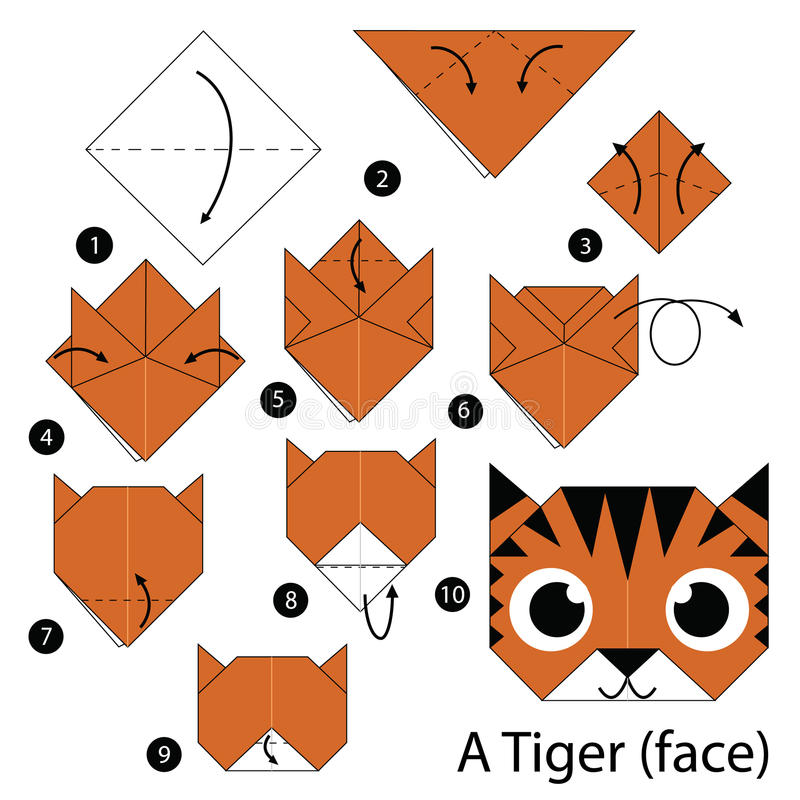 Step by step instructions how to make origami A Tiger (face). Animals Toy cartoon cute paper steps origami vector illustration