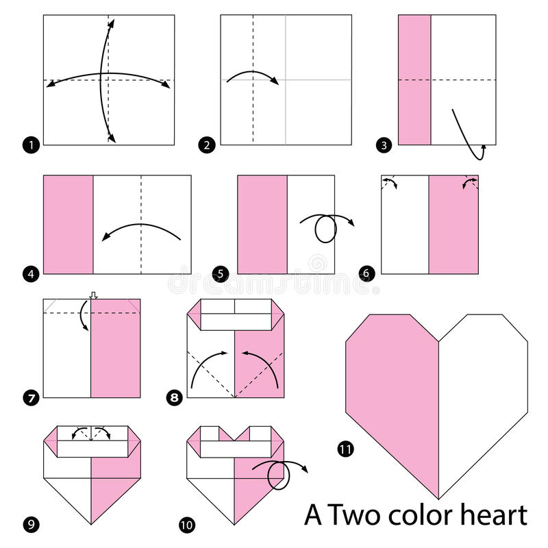 Download Step By Instructions How To Make Origami A Two Color Heart Stock Vector