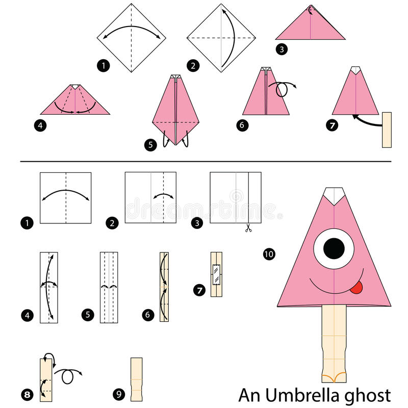 Download Step By Instructions How To Make Origami An Umbrella Ghost Stock Vector