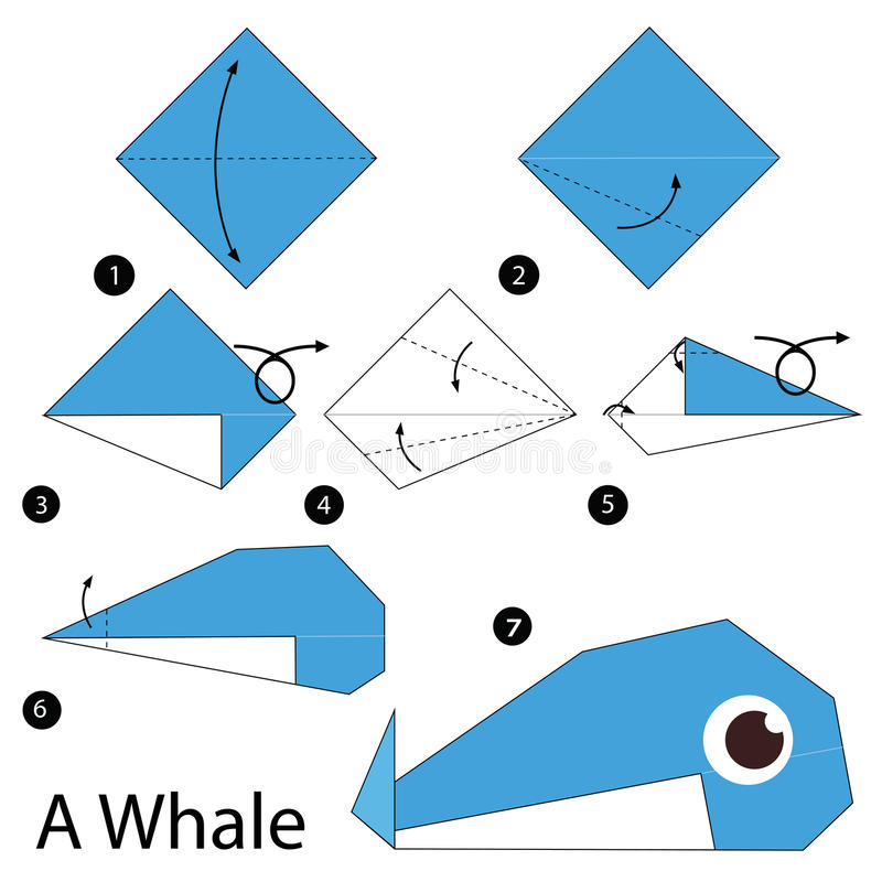 Step by step instructions how to make origami a whale for Origami swan easy step by step