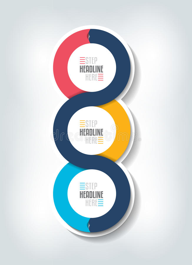 Step by step vertical infographic. Vector 3D design with 3 circle boxes. royalty free illustration