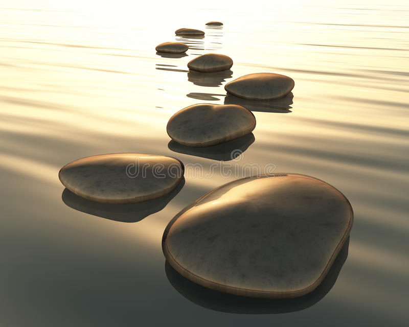 Step stones. An image of golden light step stones royalty free illustration