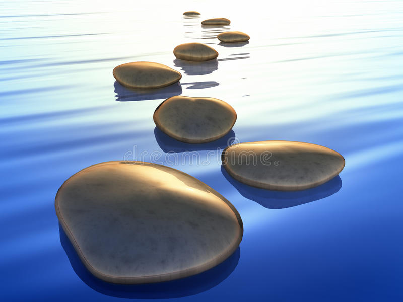 Step stones. An image of beautiful step stones in the blue ocean sunset royalty free illustration