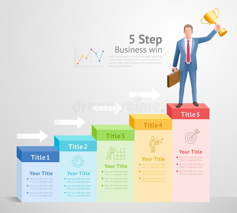 5 step to business win concept. Businessman Men standing holding gold trophies on top infographics royalty free illustration