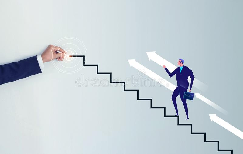 Businessman step to the goal. Businessman hand drawing a line stair to the target, increasing business royalty free stock photos