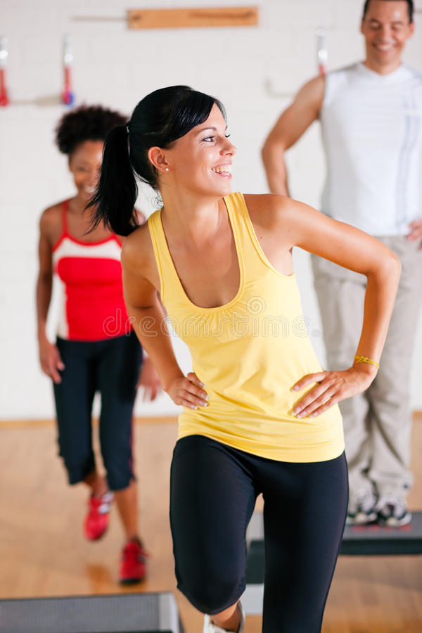 Download Step Training In Gym With Instructor Stock Photo - Image: 14085194