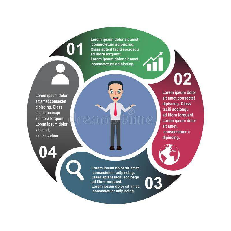4 step vector element in four colors with labels, infographic diagram. Business concept of 4 steps or options with businessman stock illustration