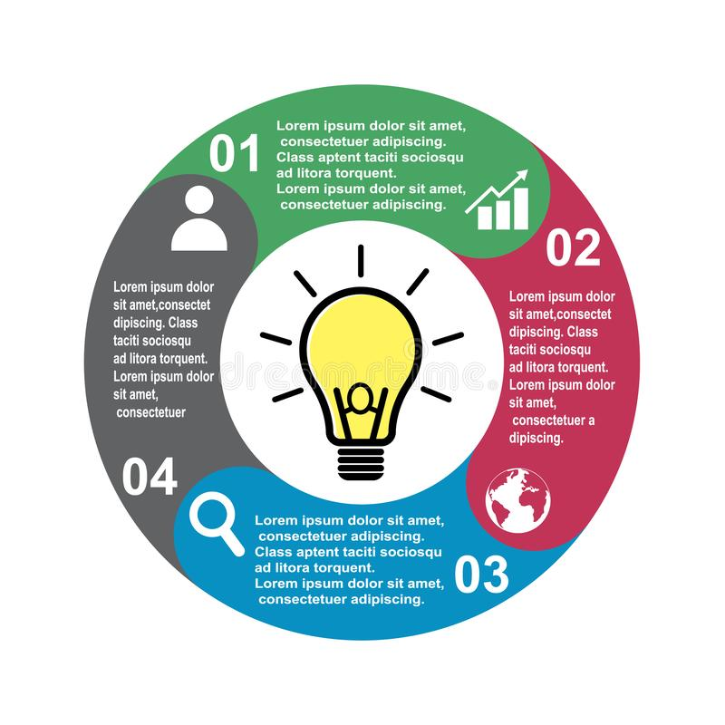 4 step vector element in four colors with labels, infographic diagram. Business concept of 4 steps or options with light bulb vector illustration