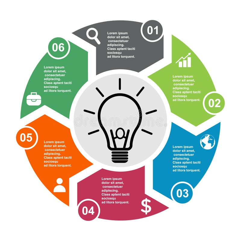 6 step vector element in six colors with labels, infographic diagram. Business concept of 6 steps or options with bulb.  stock illustration