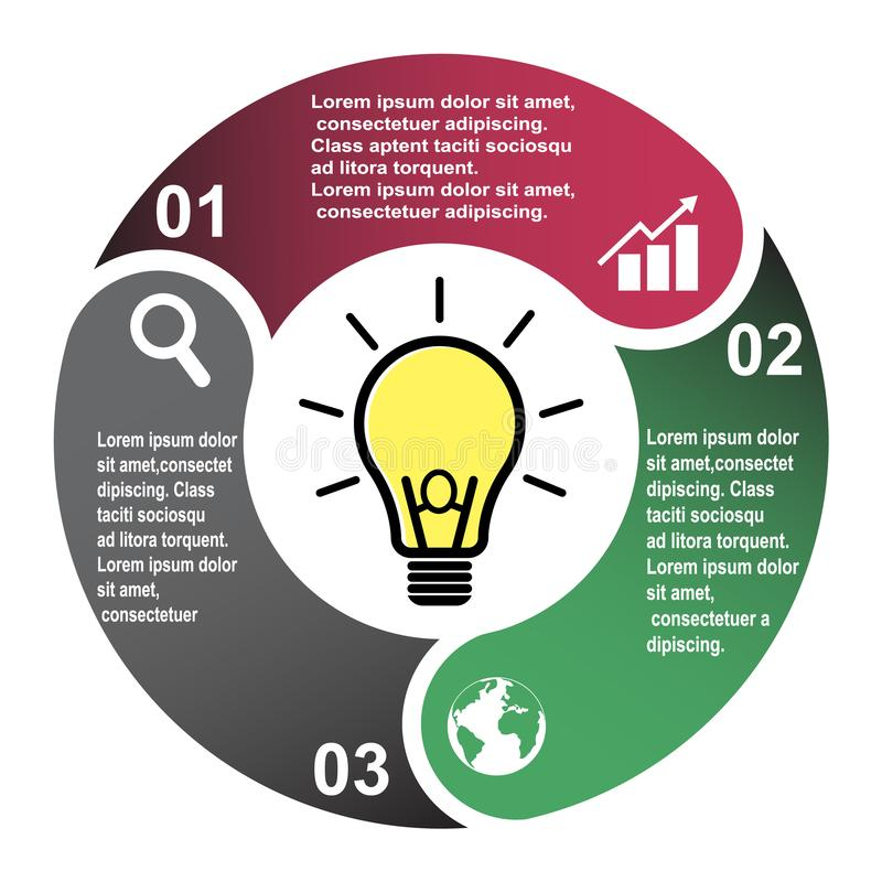 3 step vector element in three colors with labels, infographic diagram. Business concept of 3 steps or options with light bulb.  royalty free illustration