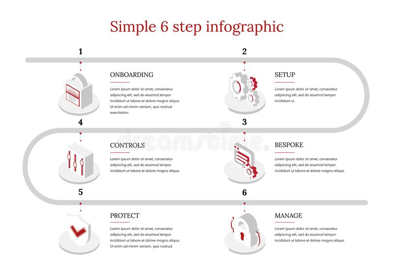 6-Step vector Infographic libre illustration