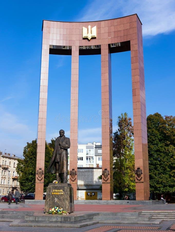 Stepan Bandera Monument, Leopoli immagine stock libera da diritti