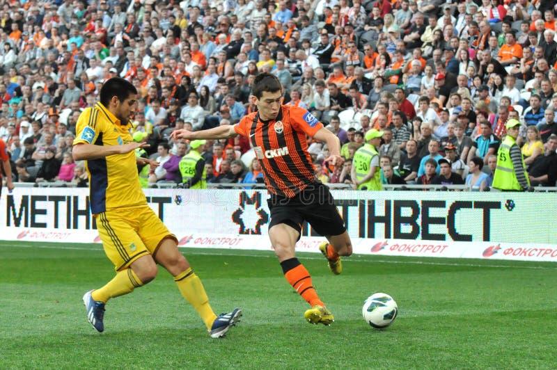 Stepanenko Taras are going to kick the ball. During the match between Shakhtar (Donetsk, Ukraine) vs Metalist (Kharkiv) 2012/13 Ukrainian Premier League stock photos