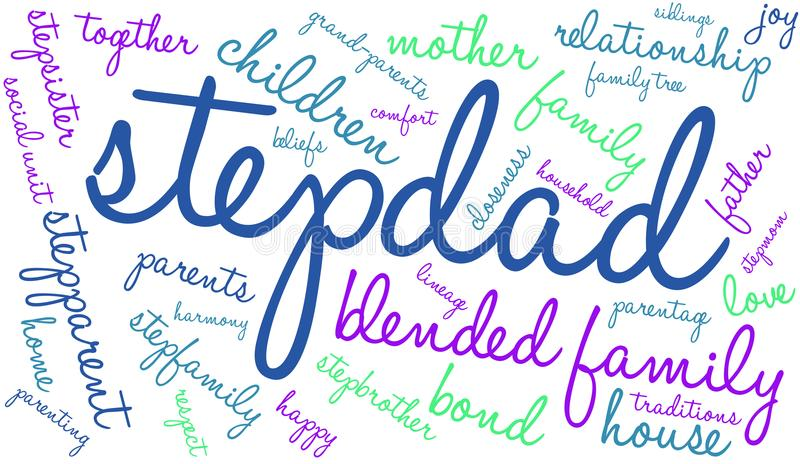 Stepdad Word Cloud. On a white background stock illustration