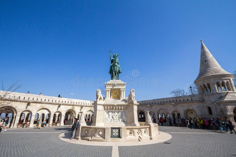 Stephan I statue Szent Istvan on Fisherman`s Bastion Halaszbastya in Budapest castle during the afternoon. royalty free stock photos