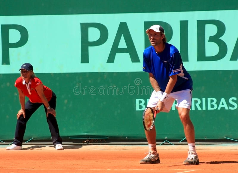 Stephane Robert opposed to Berdych Roland Garros stock photography