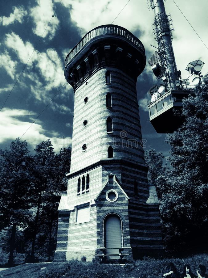Stephaniewarte Lookout tower on the Viennese Kahlenberg royalty free stock photo